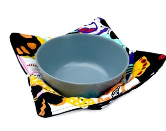 Microwave Bowl Cozy - Quilted Colorful Butterflies and Polka Dots Fabric With Two Layers of Batting - Reversible