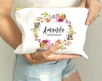 Bridesmaid Makeup Bag | Bridesmaids Gifts | Bridesmaid Name Bag | Make up Bag for Bridesmaids | Cosmetic Bag | Will you be my