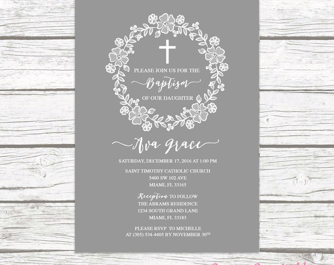 Gray White Lace Wreath Floral Baptism Christening Invitation, Girl First Communion Boho Vintage Cross Invite, Rustic Printable Invitation
