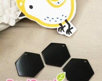 CH-ME-10189 - Nicke Free, color enameled, Hexagon charm, black, 12 pcs