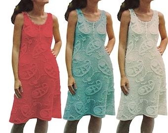 Paisley Patterned Sheath Dress Crochet Pattern 70s Summer Dress Sleeveless Irish Lace Motif PDF instant download D103