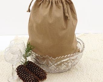 Linen Bread Bag / Linen Drawstring Bag