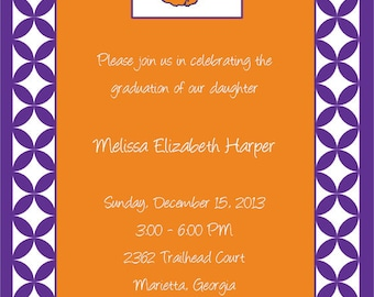 Orange and Purple Clemson Invitations and White or Optional Lined Envelopes, Set of 10