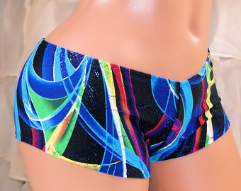 Hyper Neon Waves Blue Hololgram Glitter Black Boy Booty Shorts Adult XS XSmall- MTCoffinz - Ready to Ship