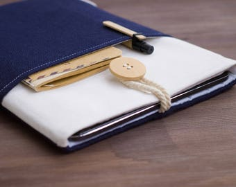"iPad Mini case, iPad Mini sleeve, Samsung Galaxy Tab 3, Kindle Fire case, Kindle HD case, 7"" Tablet case, White, Dark Blue, Wool, Nautical"