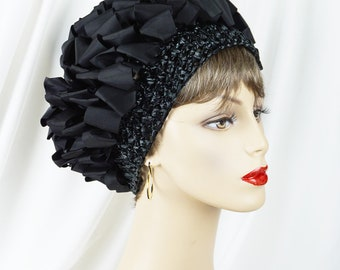 1970s Vintage Hat Black Ribbon and Crochet Turban Sz 23 1/2