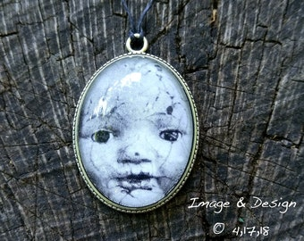 Baby Doll Photo Necklace - Broken Babydoll Photo Glass Dome Pendant Necklace by Ugly Shyla - Creepy Doll - old doll - retro
