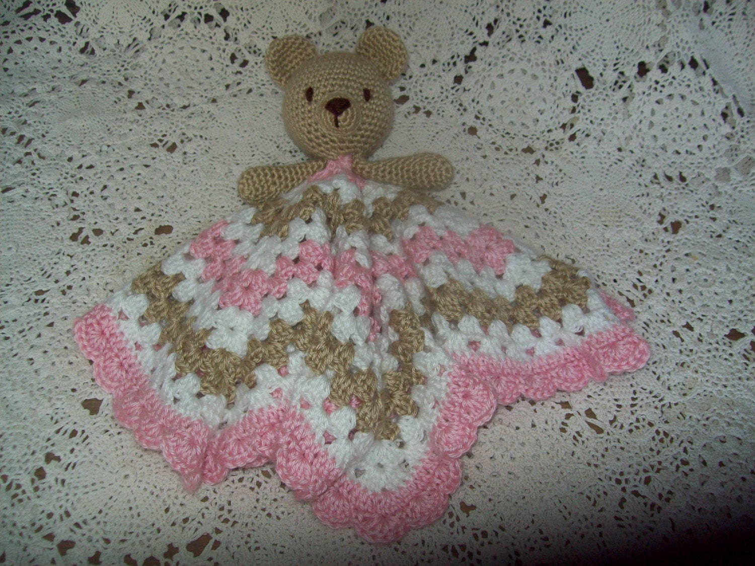 Crocheted Teddy Bear LOVEY Security Blanket Snuggle Blankie