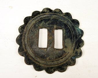 Antique Huge Brass Button - Archaeological Finds - b84