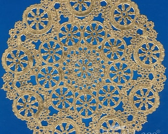 """12"""" Medallion Gold Foil Paper Doilies Royal Lace, 6/PK Made In The USA"""