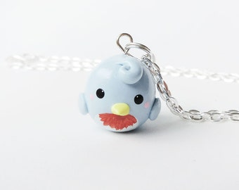 Cute Spring Blue Bird Necklace Polymer Clay Animal Jewelry
