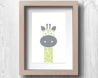 Green Giraffe - Printable Wall Art