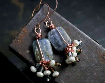 Long Blue Natural Kyanite Gemstone Dangle Drop Earrings with Multi Czech Glass Bead Charms on Handmade Copper Wires Her Boho Wedding Style