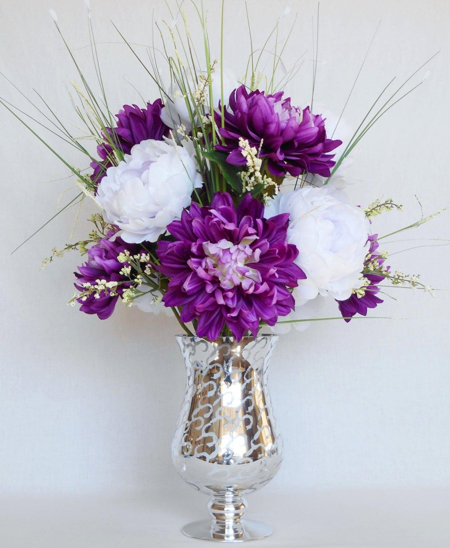 Artificial flower arrangement purple dahlias white peonies