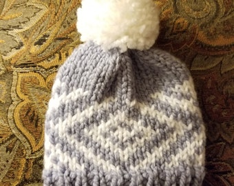 Blue and White Toddler Beanie with Pom Pom