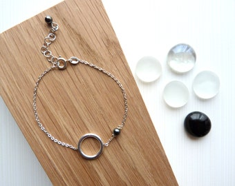 Bracelet Silver 925 and grey natural stones