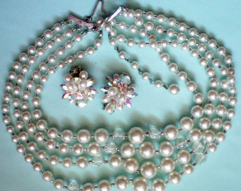 Four Strand Faux Pearl Necklace with Clip Earrings - 2843