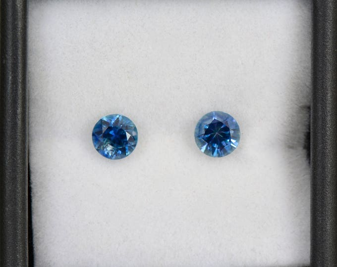 Gorgeous Blue Sapphire Match Pair Round Brilliants from Montana 5 mm., 1.21 tcw.