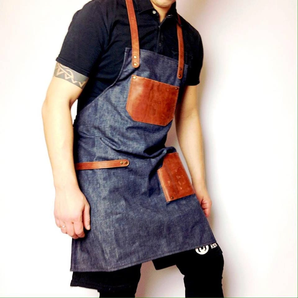Barista torr facteur cafe tablier tablier de cuir denim cuir - Tablier de forgeron ...