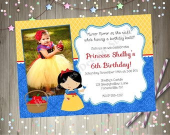 Snow White Princess Birthday Invitation Invite Photo Picture Party Printable Yellow Red Blue