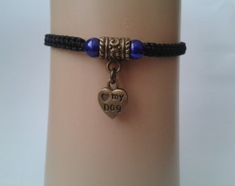 Love my dog bracelet - pet bracelet - pet jewelry - adjustable bracelet - macrame bracelet - paw print bracelet - dog - pet jewellery