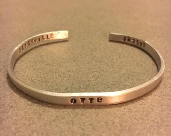 OTTB Stamped, skinny, aluminum cuff bracelet - personalized, equestrian