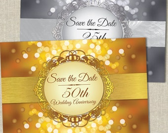 Shimmering Bokeh Wedding Anniversary Save the Date Postcard, Faux Silver or Golden, Printable, Evite or Printed (US Only) Postcards