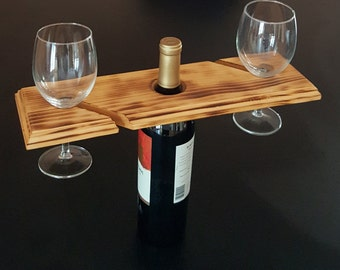 Wood Wine Glass and Bottle Caddy for two. Great Mother's Day gift. FREE Shipping!
