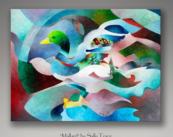 "Giclee Print, Canvas Print from my original abstract oil painting ""Mallard"", 30x40 inches"