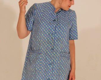 Large Vintage Dress Large Dress Shirt Dress Button Down Dress Floral Dress Large Floral Dress Summer Dress Pockets Dress Blue Dress