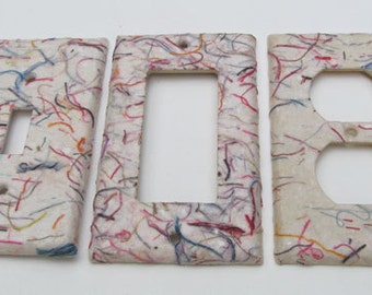 Eco-Friendly single Heavy String Handmade Paper-Recycled Light Switch Plate Cover-Recycled Handmade Paper