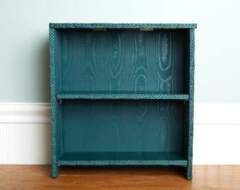 SALE 2 Tier Vintage Shelf - Vintage Collapsible 2 Tiered Folds Flat Book Shelf - Wall Shelf - Bathroom Shelf- Green Shelf