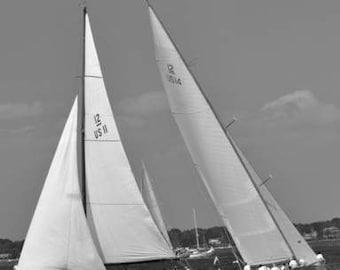 Sailboat Prints, Sailing Regatta, Boat Races, Nautical Wall Art, Black and White Decor, Regatta Pictures, Wall Decor Photography,  Nautical