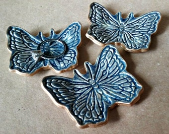 THREE Ceramic Butterfly Ring Dishes Night Sky Blue edged in gold small