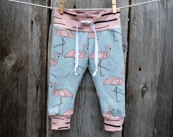 Flamingo baby clothes, Organic baby clothes, baby leggings, baby girl gift, organic girl leggings, baby girl clothes, florida baby, winter