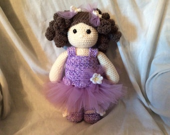 Crochet Ballerina Doll PATTERN , amigurumi doll pattern , doll in a tutu tutorial ,  Sweet Lavender and Daisy  PDF - instant download pdf