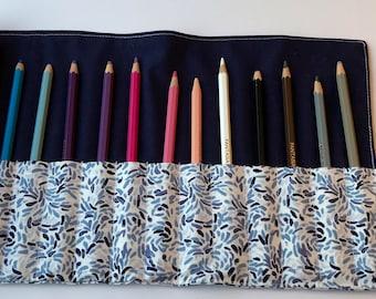 Fabric Pencil Roll - Roll Up Pencil Case - Pencil Wrap - Artist Roll - Makeup Roll - Travel Pencil Pouch - Pencil Holder - Pencil Organizer