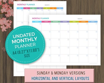 A4 Monthly Planner, Printable, Monthly Calendar Template, A4 Planner Inserts, Monthly Agenda, Undated Monthly Planner, A4, 8.27x11.69