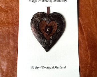 Personalised 3rd Wedding Anniversary Card Leather Gift Heart Husband Wife Him Her - Leather Heart Ornament 3rd Anniversary Gifts