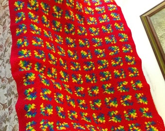 Red and Multi colored granny square afghan 67X44