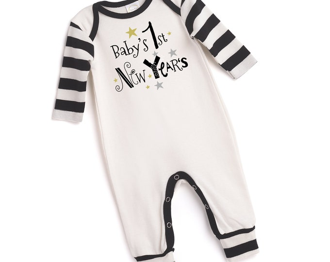 My First New Year's Baby Romper, Newborn Boy 1st New Years Outfit, Infant Newborn Baby New Year's Onesie, New Years Onesies Tesababe