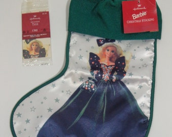 Vintage 1995 Hallmark Barbie Collectible Holiday Stocking, New With Tag, Official Mattel Christmas Accessory with Bonus Barbie Gift Tags