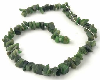 Canadian Nephrite Jade Chip Beads, unstrung 15""