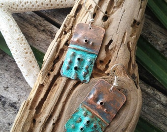Olivia- Organic Copper Earrings with Turquoise Patina