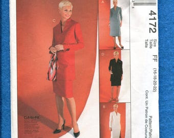 McCalls 4172 Raised V Neck Dress or Tunic and Slim Skirt Size 16 to 22 UNCUT