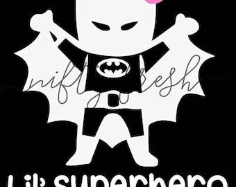 Girl Batman Lil Superhero Baby in Car on Board Child Infant Toddler Kid Children Vehicle Window Decal Die Cut Bumper Vinyl Sticker White
