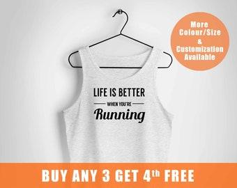 Womens running tank, feminist running vest, funny runner, Life is better when you are running vest, runner vest,,