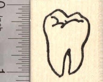 Tooth Rubber Stamp, Molar, Dentist, Dental D26919 Wood Mounted