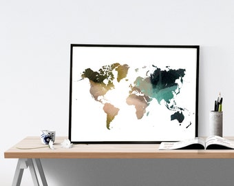 World map painting etsy world map watercolor wall art map poster map art print office decor gumiabroncs Images