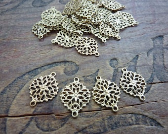 Brass Filigree Link Decorative Stamping Connector Art Nouveau Style (4)